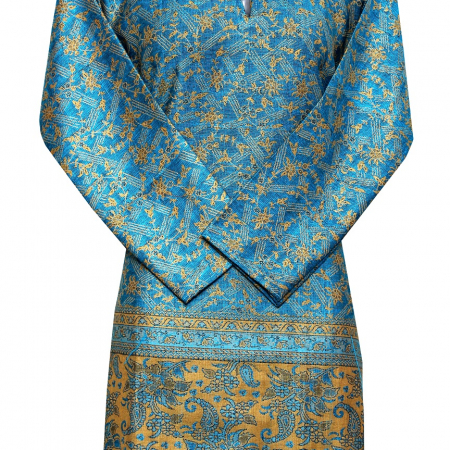 blue kurti -golden combination