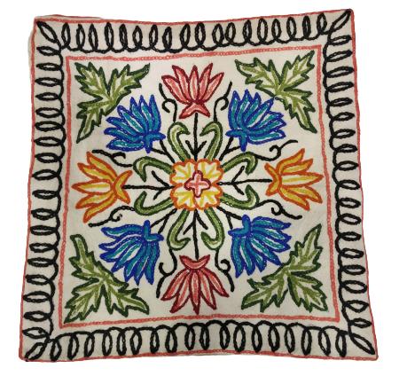 white cushion multicolor thread